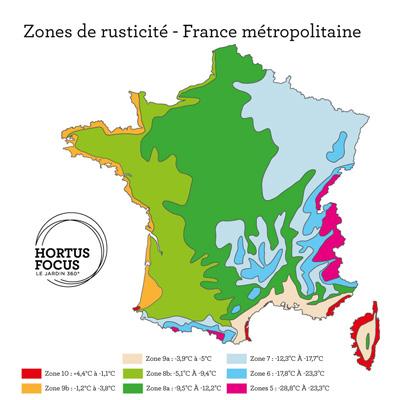 Carte des zones de rusticité en France