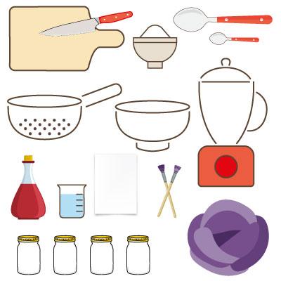 aquarelle au chou rouge : les ingredients et ustensiles