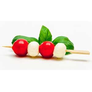 Apéro : Brochettes tomate-Mozza-Basilic